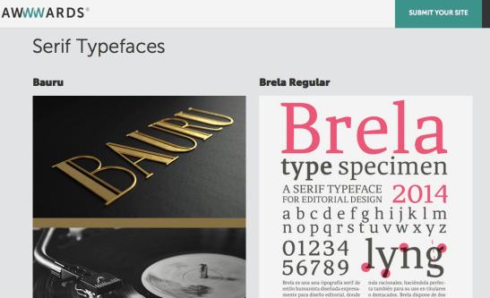 AWWWards 100 best fonts of 2015