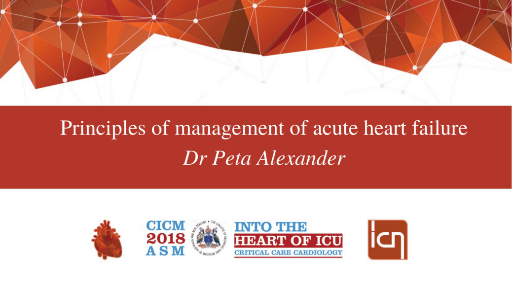 Principles of management of acute heart failure.