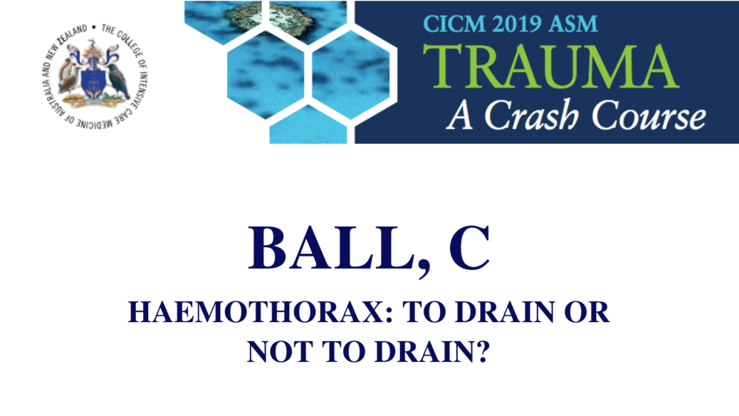 Haemothorax To drain or not to drain
